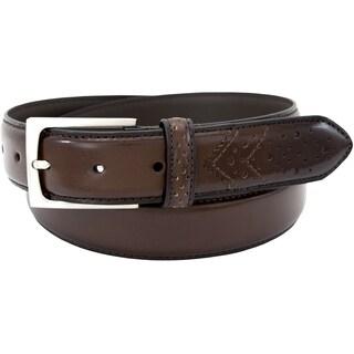 Florsheim Men's Tan Full Grain Leather 33-millimeter Wing Tip Belt