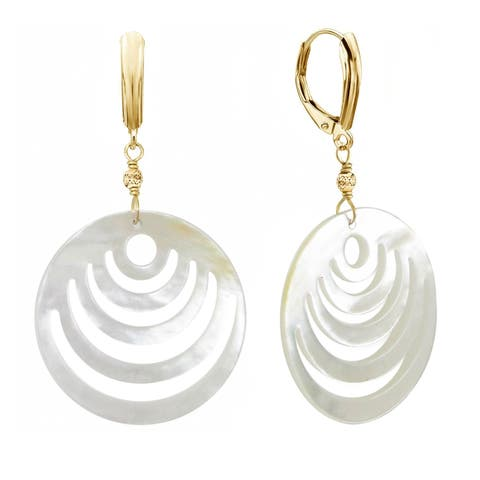 DaVonna 14k Yellow Gold 30mm Mother of Cultured Pearl with Sparkling Bead Lever-back Earrings