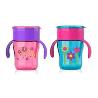 Philips Avent My Natural Purple Flowers and Blue Flowers Plastic 9-ounce Drinking Cups (Set of 2)