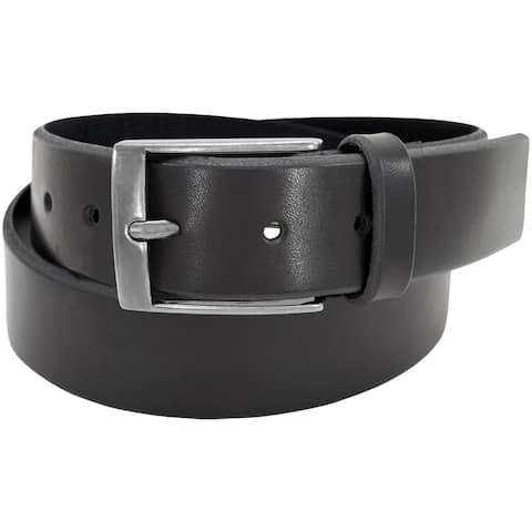 Florsheim Black Leather 38-millimeter Full-grain Beveled Edge Casual Belt