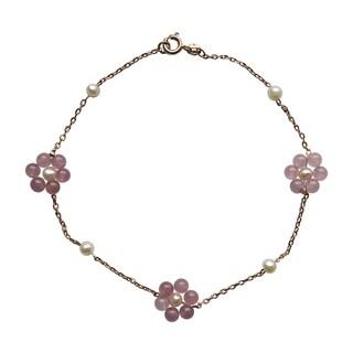 """Bracelet/Ankle Bracelet of Lavender Jade and Pearl-10"""""""
