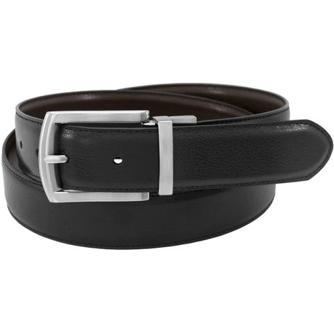 Florsheim Men's Black/Brown Leather 35-millimeter Reversible Single-stitch-edge Belt
