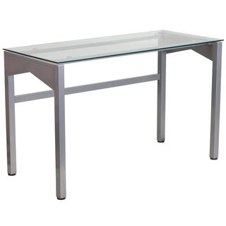 Euro Style Dresu Clear Tempered Glass Top Desk