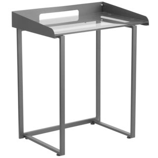 Kali Clear Tempered Glass and Black Frame Contemporary Desk
