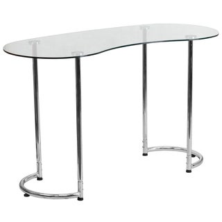 Elber Silver Chrome Glass-top Desk