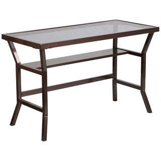 Tryst Brown Metal Contemporary Desk with Dark Grey Tempered Glass