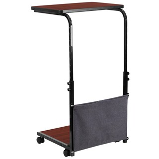 Crag Mobile Mahogany Adjustable Computer Desk with Removable Storage Pouch