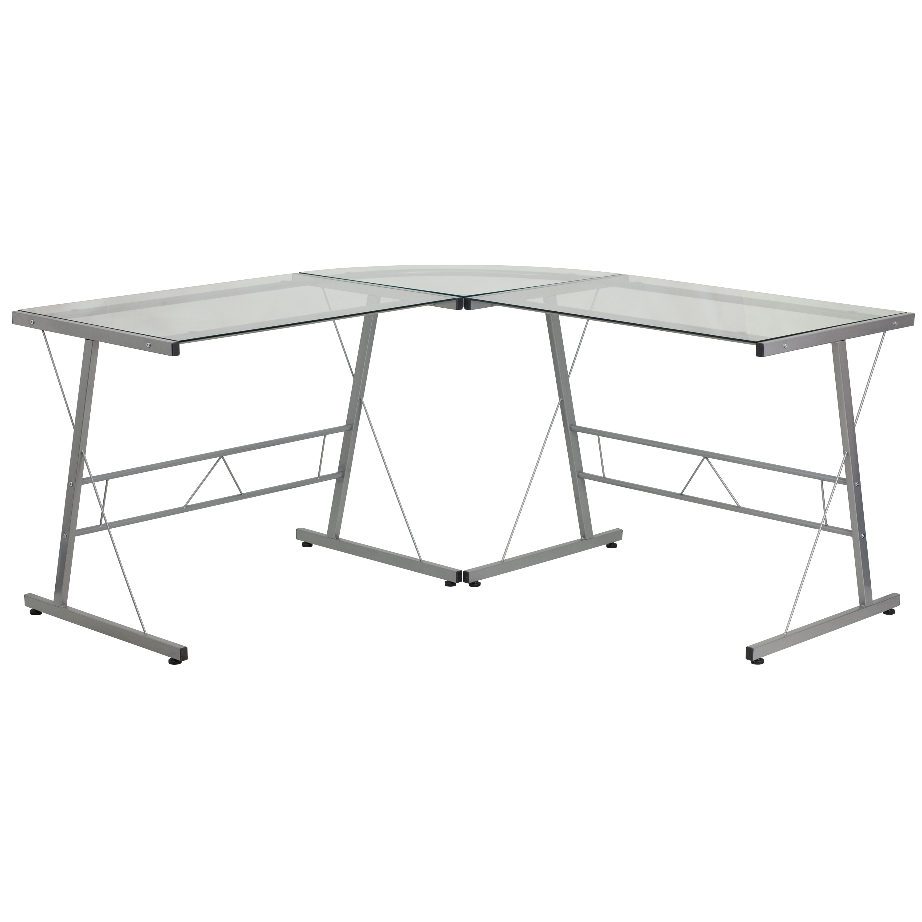 Inmir Glass L-shaped Glass Computer Desk with Metal Frame (1 Desk)