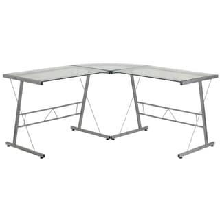 Inmir Glass L-shaped Glass Computer Desk with Metal Frame