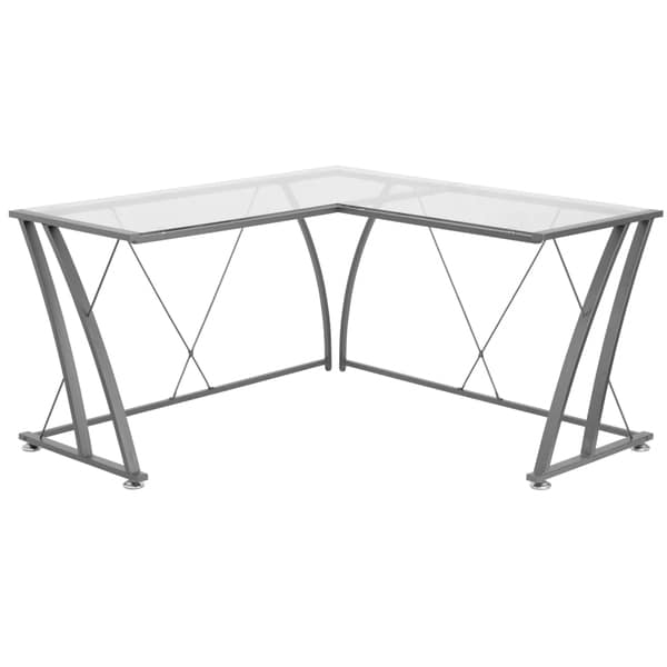 Jigos L Shaped Clear Tempered Gl Top Black Frame Computer