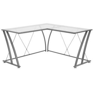 Jigos L-Shaped Clear Tempered Glass Top Black Frame Computer Desk