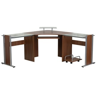 Rald Silver and Brown Wood and Glass Corner Desk