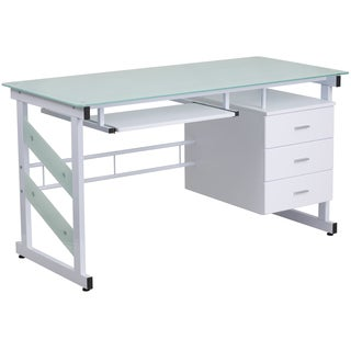 Esh White Powder-coated Glass-top Computer Desk with Three-drawer Pedestal