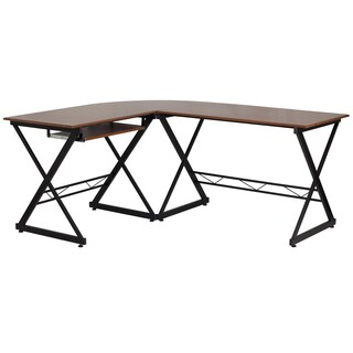 Doliza Black Metal/ Wood L-Shape Computer Desk with Pull Out Keyboard Tray