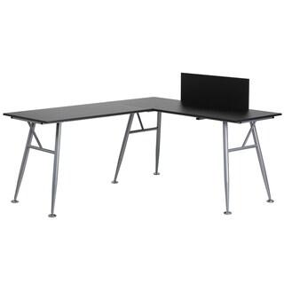 Bran Black L-Shape Computer Desk with Silver Frame Finish