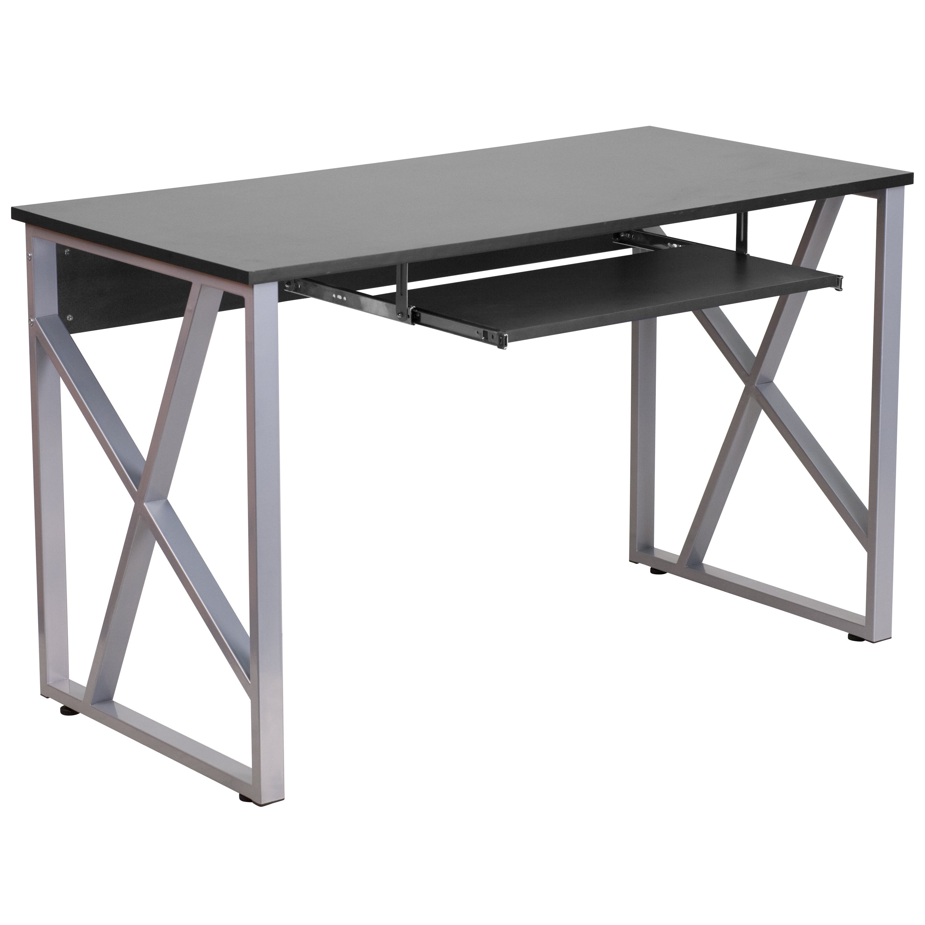 Ladigo Black Wood/Metal Computer Desk with Pull Out Keyboard Tray (1 Desk)