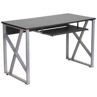 Ladigo Black Wood/Metal Computer Desk with Pull Out Keyboard Tray