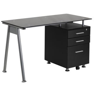 Nysis Black Glass/Metal 3-drawer Pedestal Computer Desk