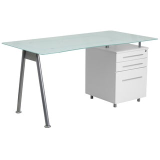 Janyn White Glass-top Computer Desk with 3-drawer Pedestal