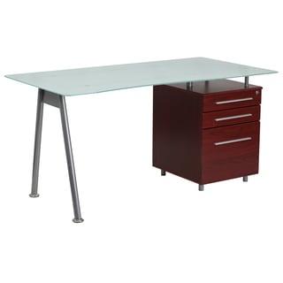 Janyn Glass-top 3-drawer Pedestal Computer Desk