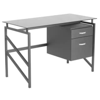 Elies Black Powder-coated Metal Two-drawer Pedestal Glass-top Desk