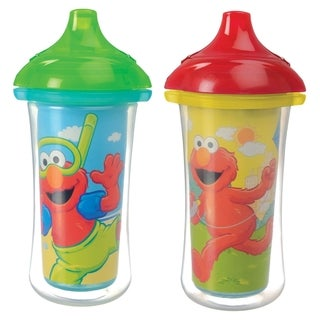 Munchkin Sesame Street Aqua and Yellow Plastic 9-ounce Click-lock Insulated Sippy Cups (Set of 2)