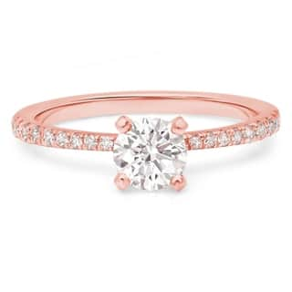 LeZari & Co. 0.80ct TDW Pave Set, Petite, thin, tapered, U Pave, 4 Prong Round Solitaire Diamond Engagement Ring. (H-I, I2-I3)|https://ak1.ostkcdn.com/images/products/15003418/P21502347.jpg?impolicy=medium
