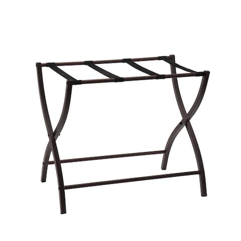 K and B Furniture Co Inc Bronze Metal 26-inch Luggage Rack Organizer