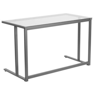 Hawis Black Frame and Glass Top Office Desk