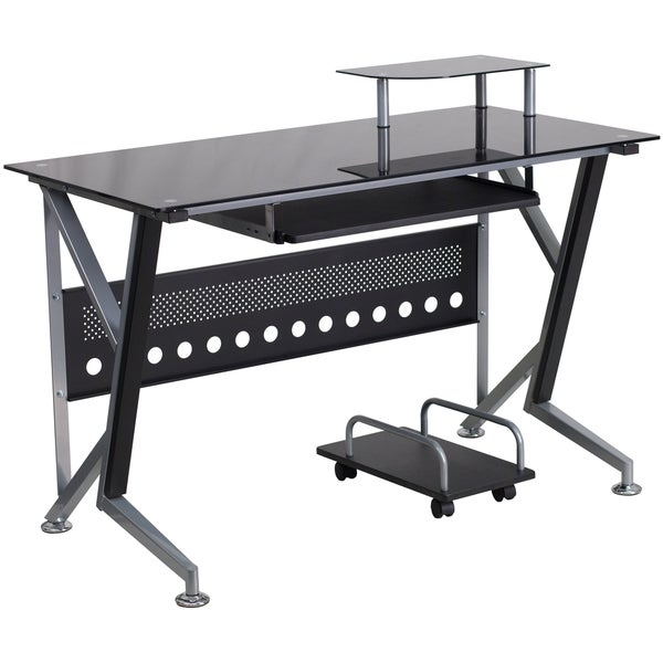 Shop Halli Black Glass Top Computer Desk With Pull Out