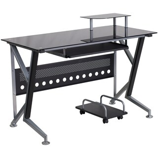 Shop Espresso Frosted Tempered Glass Computer Desk Free