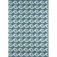 """Momeni Baja Waves Blue Indoor/Outdoor Area Rug - 8'6"""" x 13'"""