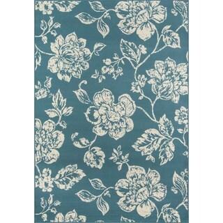 Momeni Baja Floral Blooms Blue Indoor/Outdoor Area Rug (8'6 x 13')