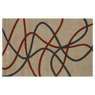 Noble House Inc. Swirl Charcoal/Dark Grey/Beige Wool Hand-tufted Rug (5' x 7'6)