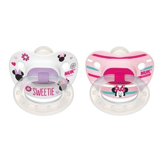NUK Disney Minnie Mouse Pink/Sweetie 6-18 Months Orthodontic Pacifier (Pack of 2)