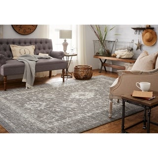 Mohawk Home Distressed Patina Zorra Grey Traditional Area Rug (5' x 7')