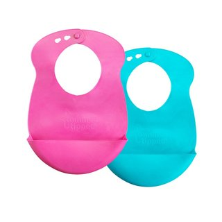 Tommee Tippee Roll 'N' Go Pink/Blue Bib (Pack of 2)