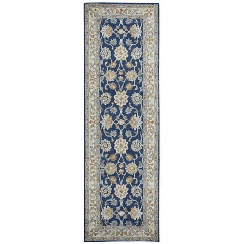 Hand-tufted Ashlyn Blue Wool Border Runner Rug - 2'6 x 8'