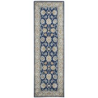 """Hand-Tufted Ashlyn blue Wool border Runner Area Rug (2'6"""" x 8')"""