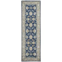"Hand-tufted Ashlyn Blue Wool Border Runner Rug - 2'6"" x 8'"