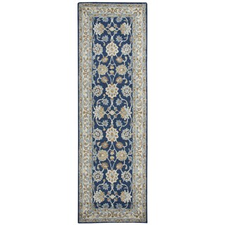 Hand-tufted Ashlyn Blue Wool Border Runner Rug (2'6 x 8')