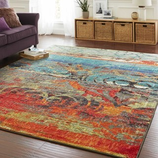 "Mohawk Home Strata Eroded Color Multi Set (Set Includes: 7' 6""x10' Rug and Rug Pad)"