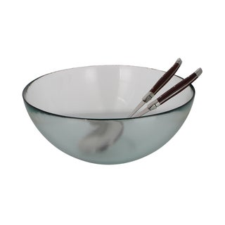 French Home Urban Salad Bowl with Laguiole Connoisseur Rosewood Salad Servers