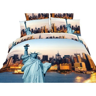 Dolce Mela Statue of Liberty Duvet Cover and Fitted Sheet Set