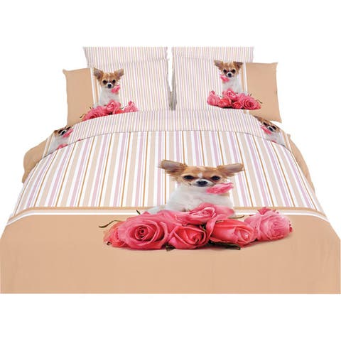 Dolce Mela Cutie Pie Dog Duvet Cover and Fitted Sheet Set
