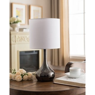 K and B Furniture Gunmetal Finish and White Shade Table Lamp (Set of 2)