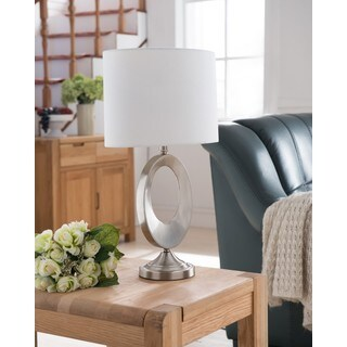 K and B Furniture Co. Inc. Brushed Nickel Table Lamp with White Shade (Set of 2)