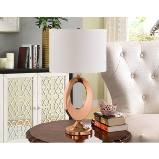 K and B Furniture Co. Inc. Antique Copper/White Table Lamps (Set of 2)