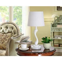K and B Furniture Co. Inc.  White Resin Body and Fabric Shade Table Lamps (Set of 2)