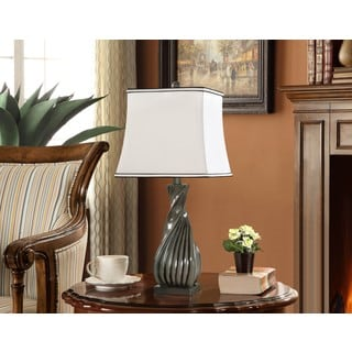 K and B Furniture Co. Inc. Grey/White Table Lamps (Set of 2)